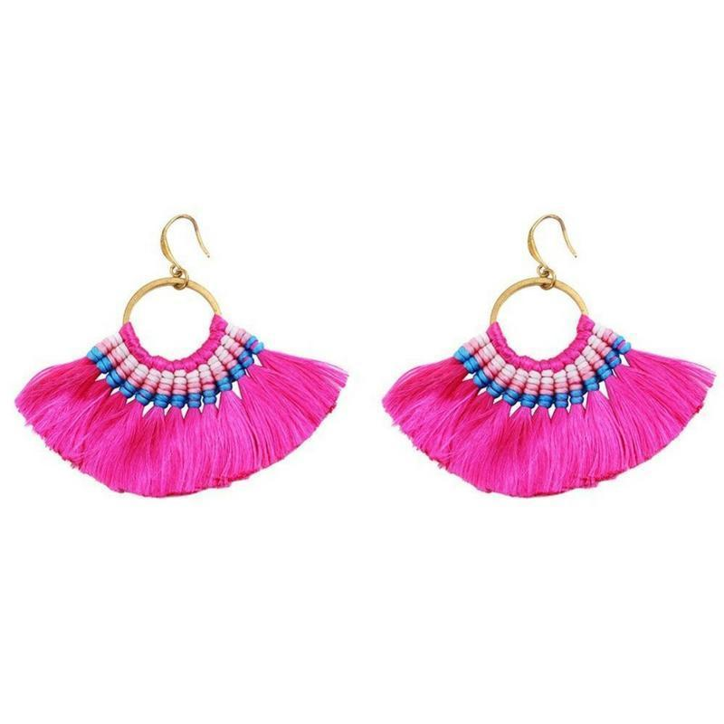 Boho Chic Tassel Earrings earrings WickedAF hot pink