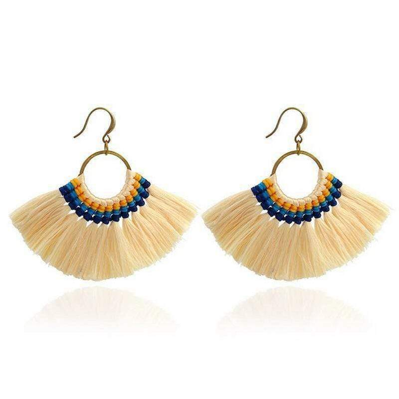 Boho Chic Tassel Earrings earrings WickedAF light yellow