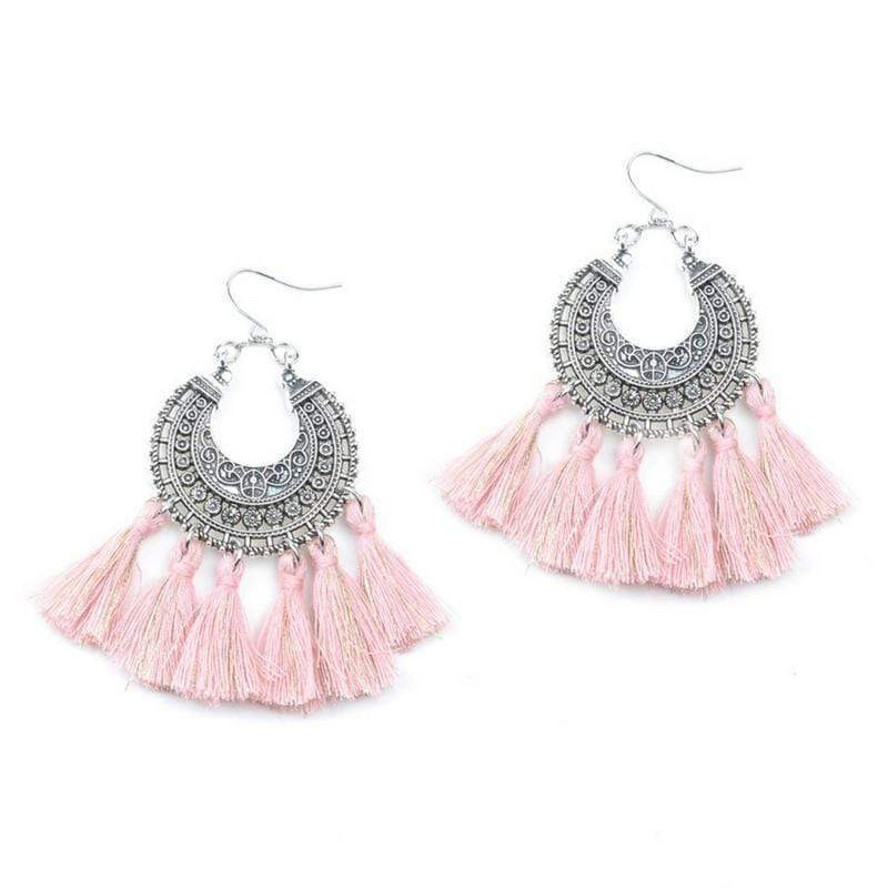 Bohemia Vintage Tassel Earrings earrings WickedAF pink