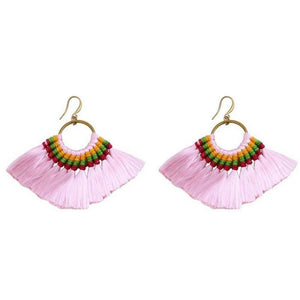 Boho Chic Tassel Earrings earrings WickedAF pink