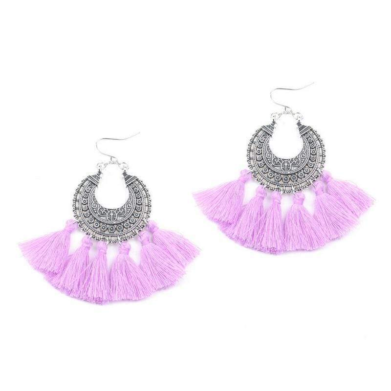 Bohemia Vintage Tassel Earrings earrings WickedAF purple