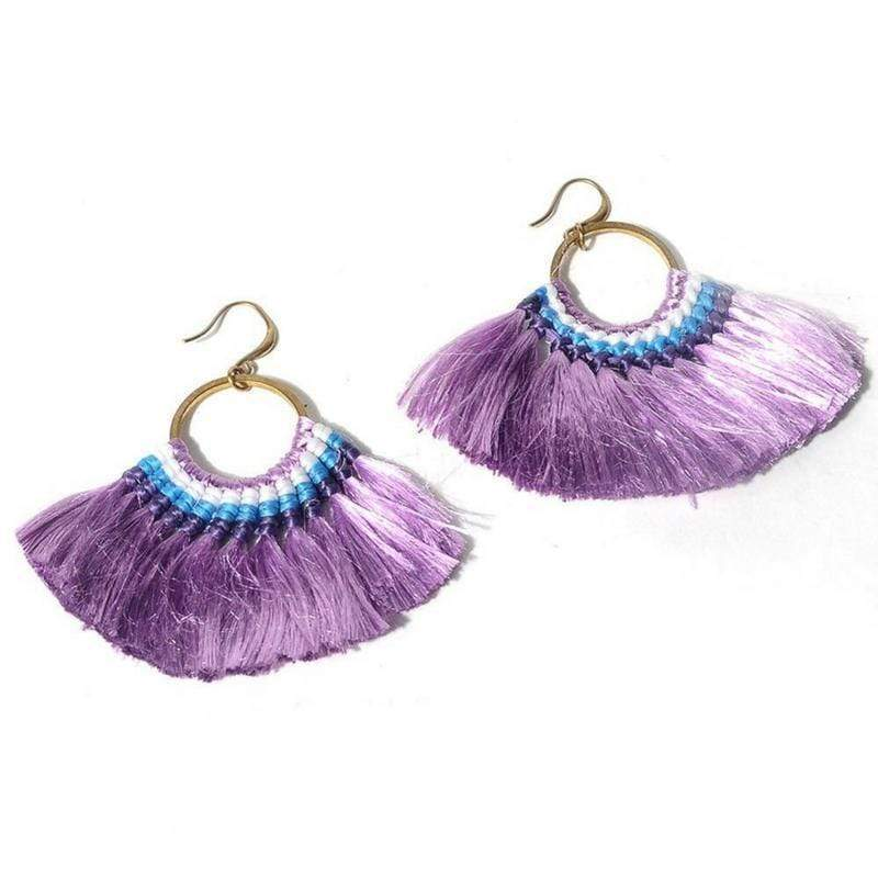 Boho Chic Tassel Earrings earrings WickedAF purple