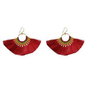 Boho Chic Tassel Earrings earrings WickedAF red wine