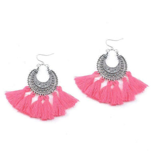 Bohemia Vintage Tassel Earrings earrings WickedAF rose pink