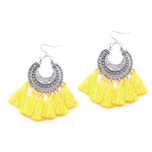 Bohemia Vintage Tassel Earrings earrings WickedAF yellow