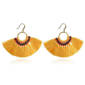 Boho Chic Tassel Earrings earrings WickedAF yellow