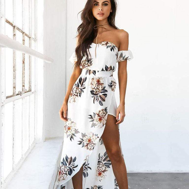 Elizabella Off The Shoulder Floral Summer Dress WickedAF