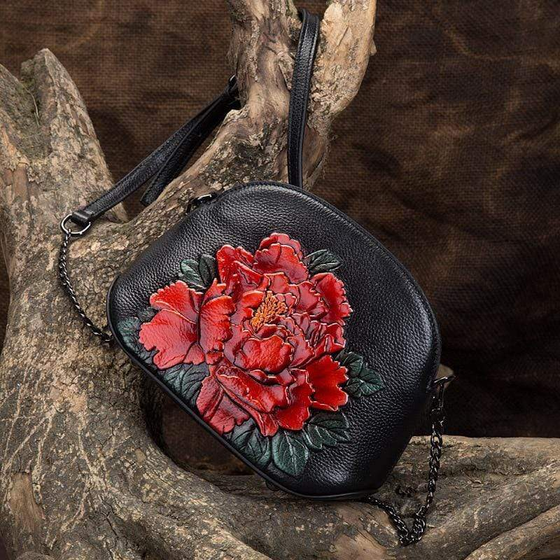 WickedAF Embossed Flower Leather Messenger Bag