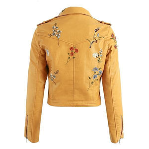 Embroidered Vegan Leather Jacket (4 Colors) WickedAF