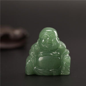 Natural Stone Carved Buddha Figurine figurine WickedAF Green aventurine