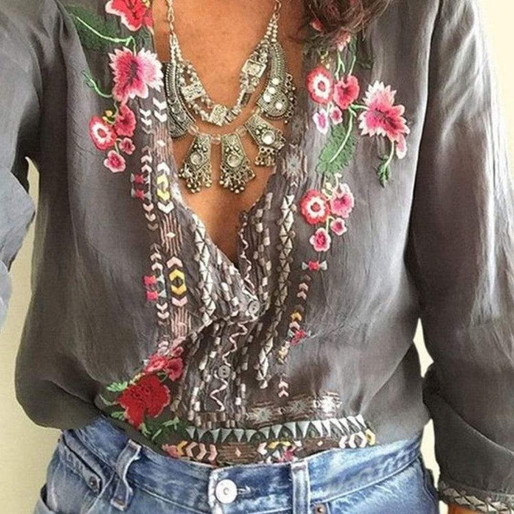 Floral Embroidered Shirt WickedAF