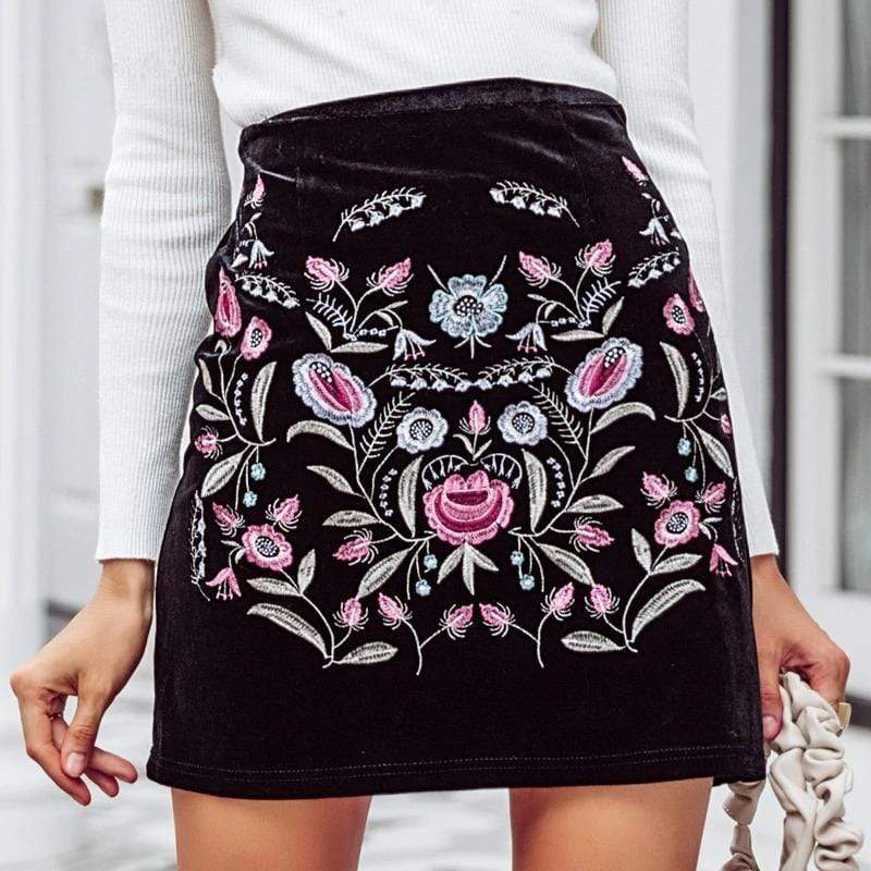 WickedAF Floral Embroidered Velvet Skirt