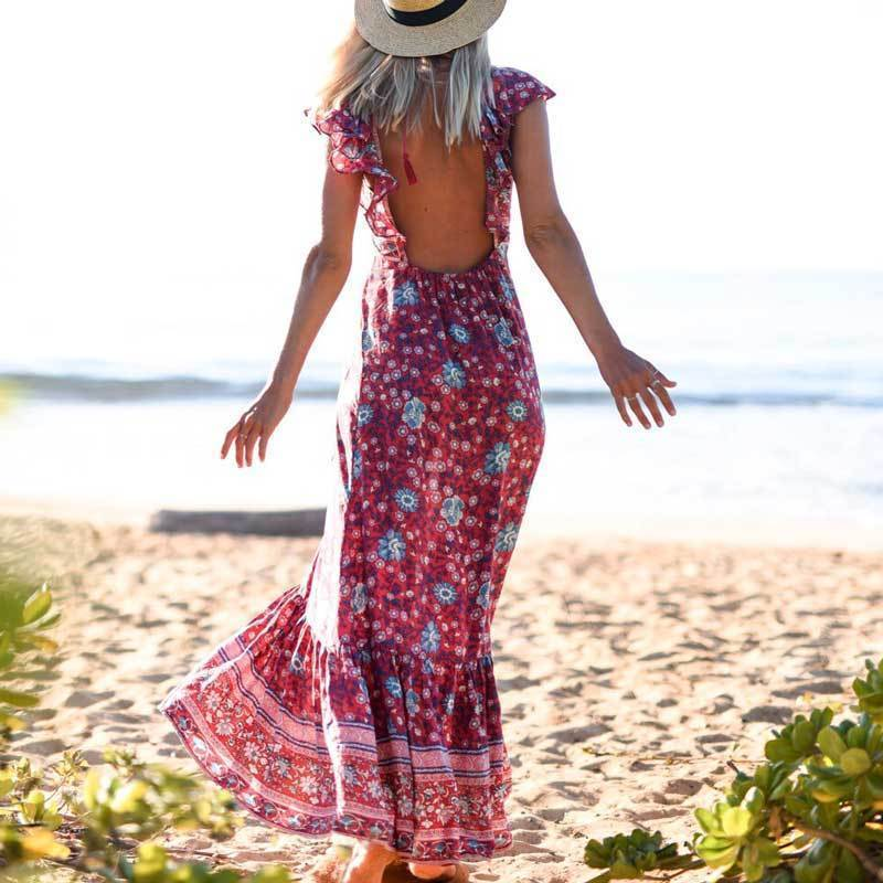 Floral Print Backless Boho Dress WickedAF