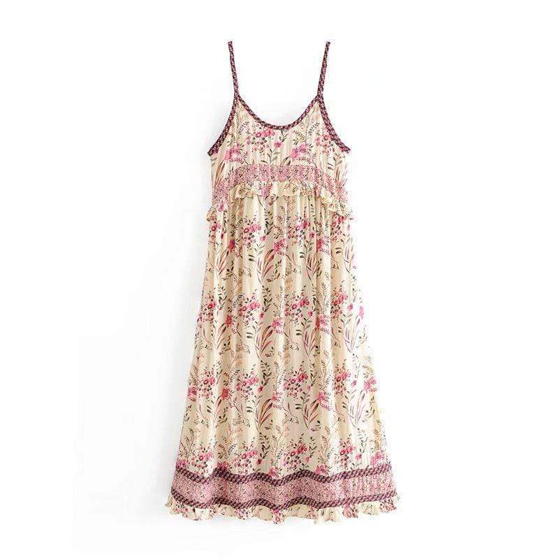 WickedAF Garden Party Strappy Dress in Strawberries and Cream