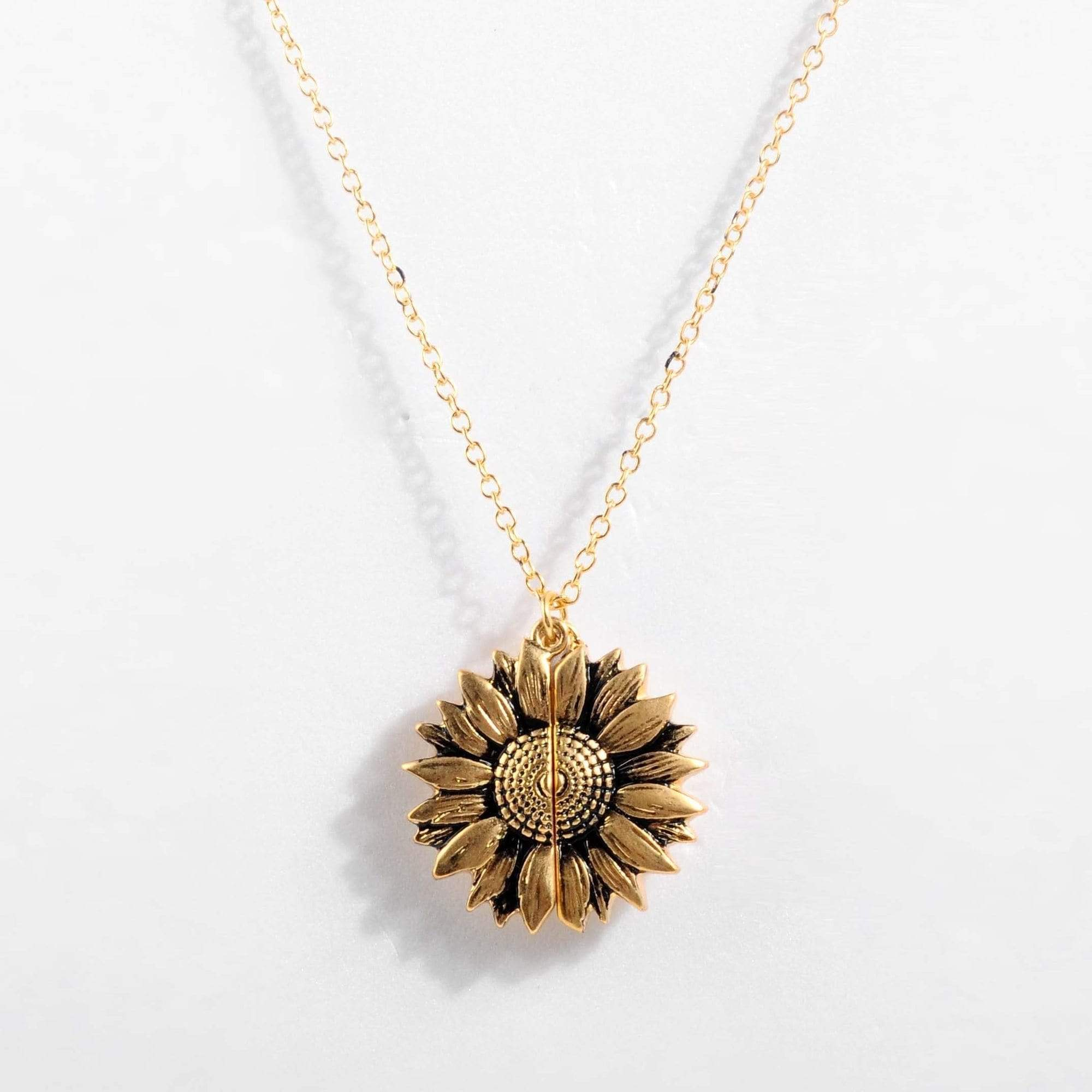 You Are My Sunshine Sunflower Necklace WickedAF gold