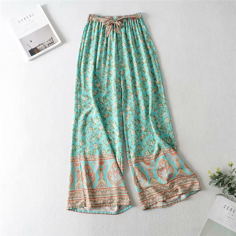 WickedAF Green Floral Matching Cotton Pant Set