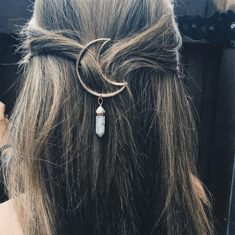 Crescent Moon Crystal Hairpin hairpin WickedAF
