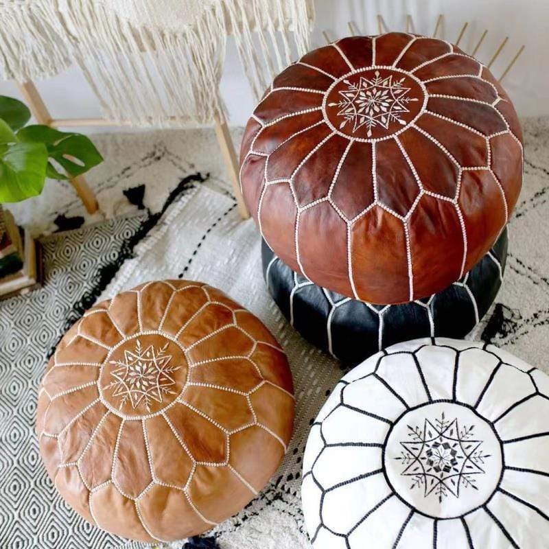 WickedAF Handmade Genuine Leather Moroccan Pouf Unstuffed
