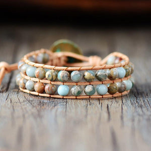 Handmade Natural Jasper Stone Leather Wrap Bracelet (2 Colors) WickedAF