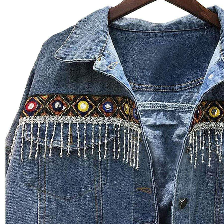 Embroidered Ethnic Denim Jacket jacket WickedAF