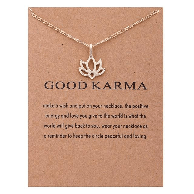 Good Karma Lotus Charm Necklace Jewellery WickedAF