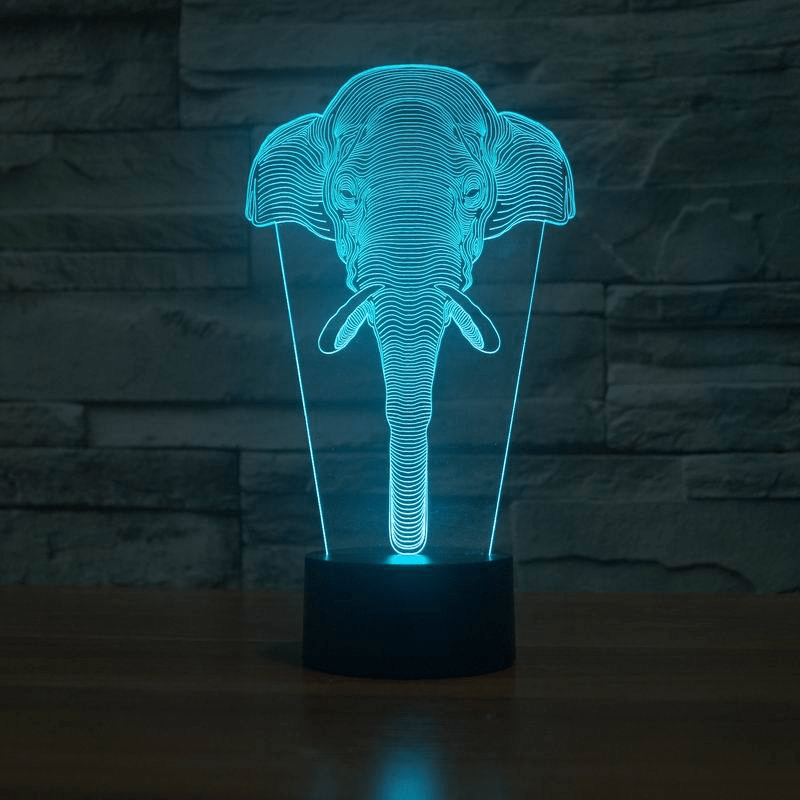 Classic Elephant 3D Illusion LED Table Lamp Lamp WickedAF