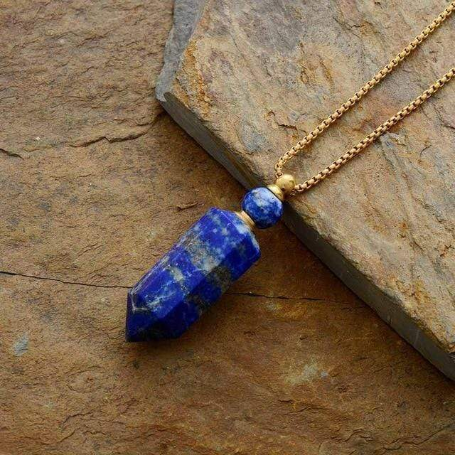 Natural Crystal Perfume Bottle Necklace WickedAF Lapis Gold