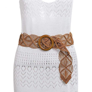 Woven Belt with Circle Buckle WickedAF Light Brown