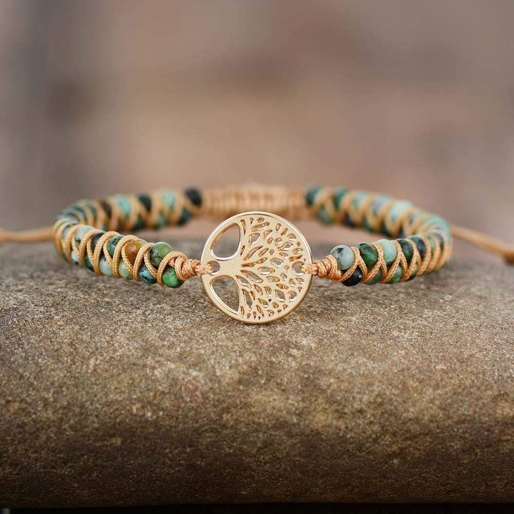 Natural African Turquoise & Tree of Life Bracelet WickedAF