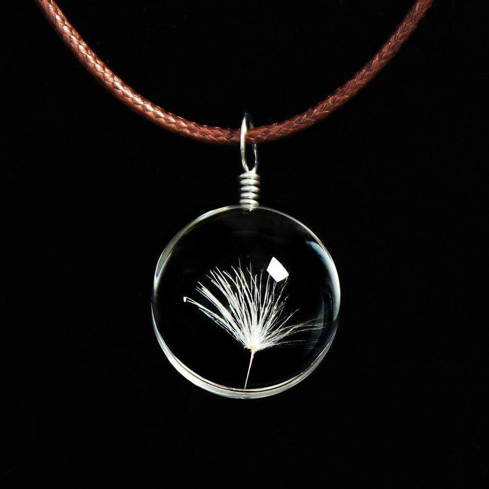 Glass Ball Dried Dandelion Pendant Necklace Necklace WickedAF 1 Dandelion