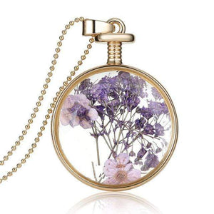 Dried Flower Glass Pendant Necklace Necklace WickedAF 3