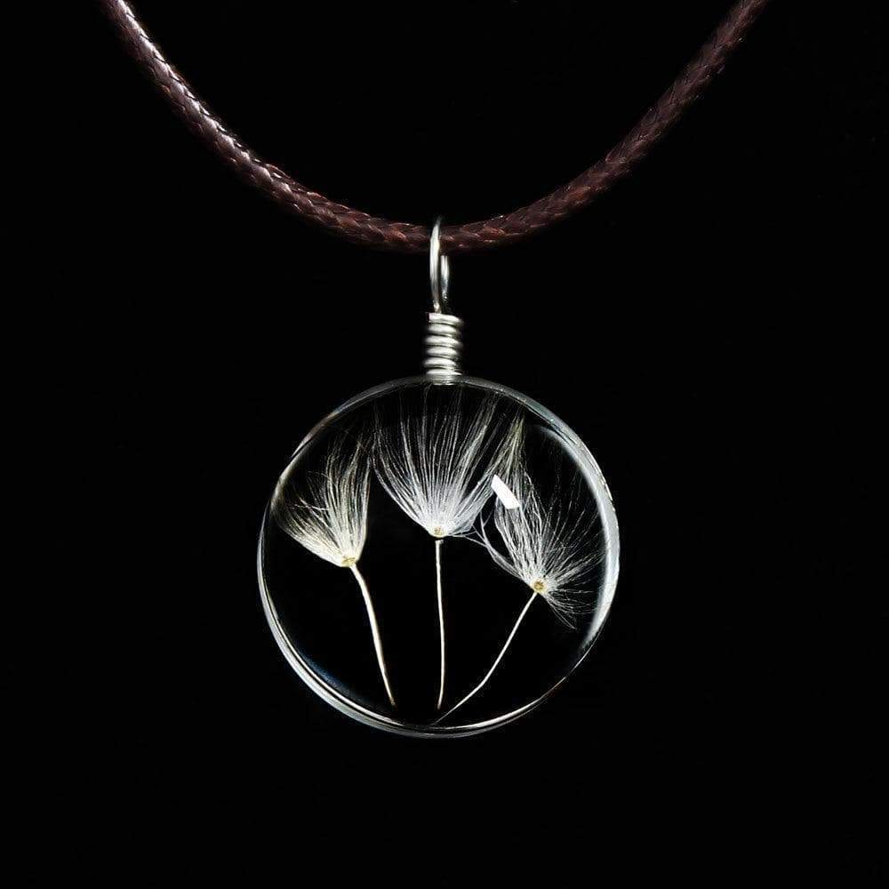Glass Ball Dried Dandelion Pendant Necklace Necklace WickedAF 3 Dandelions