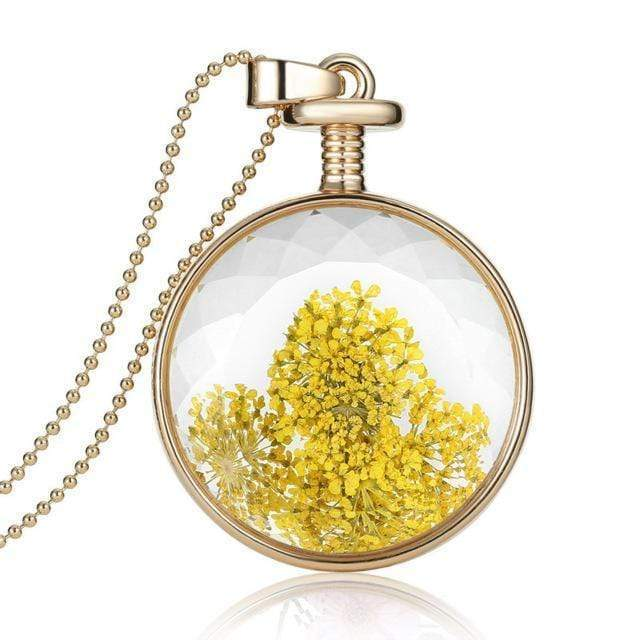 Dried Flower Glass Pendant Necklace Necklace WickedAF 6