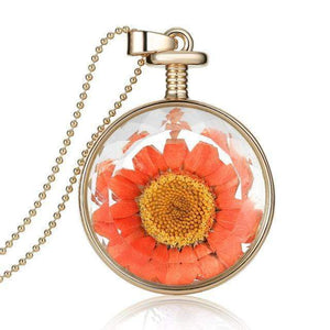 Dried Flower Glass Pendant Necklace Necklace WickedAF 8