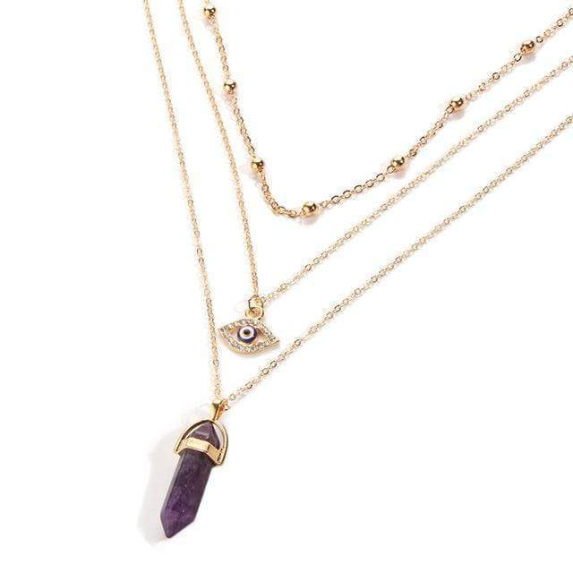 Eye Of Protection Stone Necklace Necklace WickedAF AMETHYST