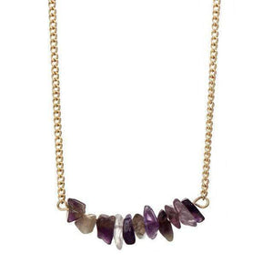 Natural Stone Choker Necklace Necklace WickedAF Amethyst