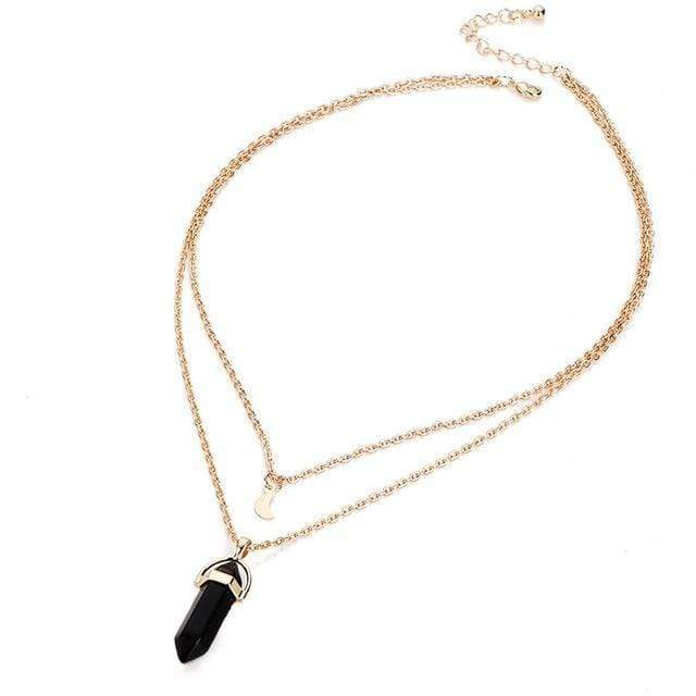 Natural Crystal Choker Pendant Necklace necklace WickedAF BLACK AGATE