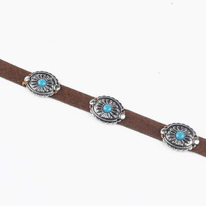 Boho Turquoise Stone Leather Choker Necklace WickedAF