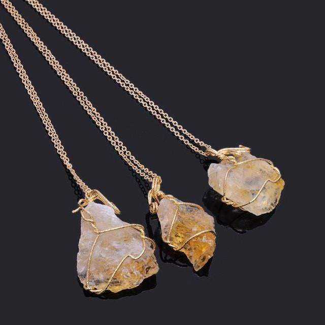 Crystal Chunk Wraps Necklace WickedAF Citrine