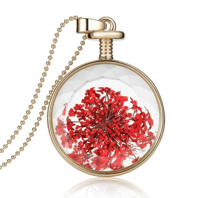 Dried Flower Glass Pendant Necklace Necklace WickedAF