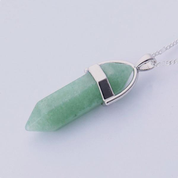 Natural Crystal Link Chain Necklace Necklace WickedAF Emerald Stone