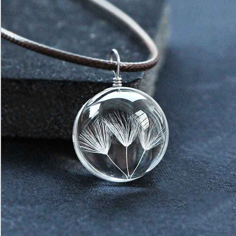 Glass Ball Dried Dandelion Pendant Necklace Necklace WickedAF