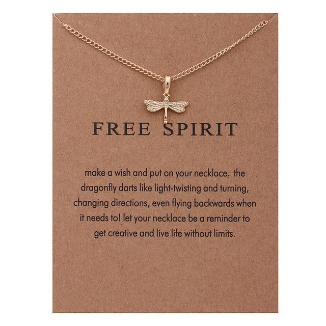 Free Spirit Dragonfly Pendant Necklace necklace WickedAF Gold