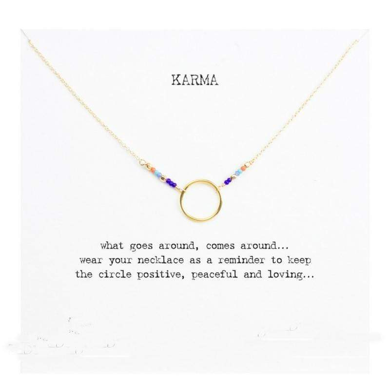 Karma Charm Necklace Necklace WickedAF Gold Wish Card