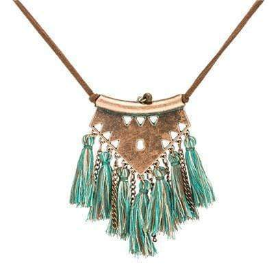 Ethnic Tassel Necklace Necklace WickedAF green