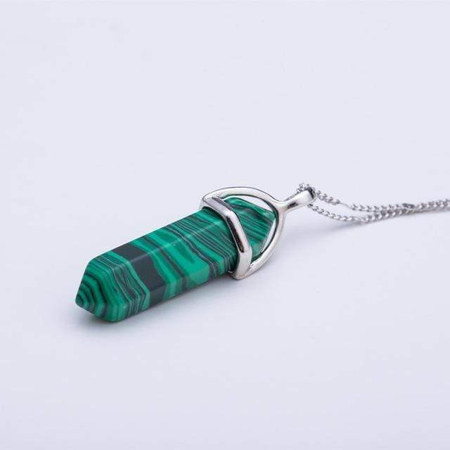 Natural Crystal Link Chain Necklace Necklace WickedAF Malachite
