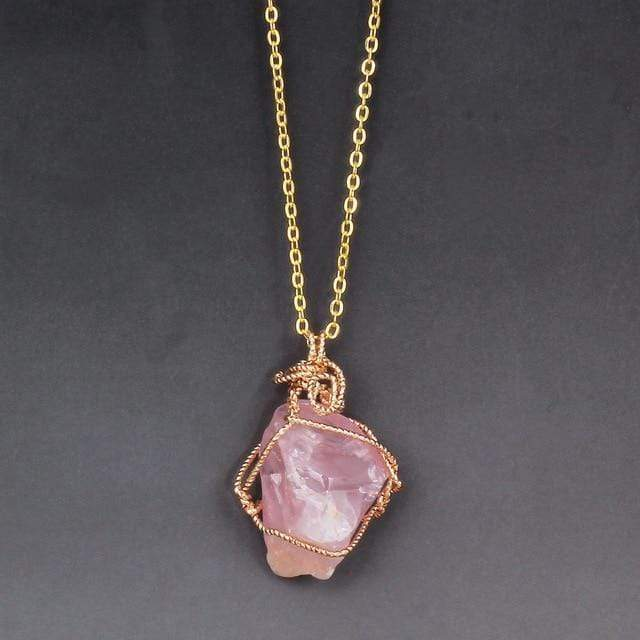 WickedAF Necklace Pink Fluorite Crystal Chunk Wraps