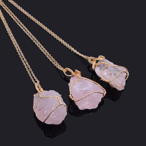Crystal Chunk Wraps Necklace WickedAF Rose Quartz