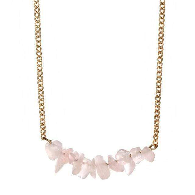 Natural Stone Choker Necklace Necklace WickedAF Rose Quartz