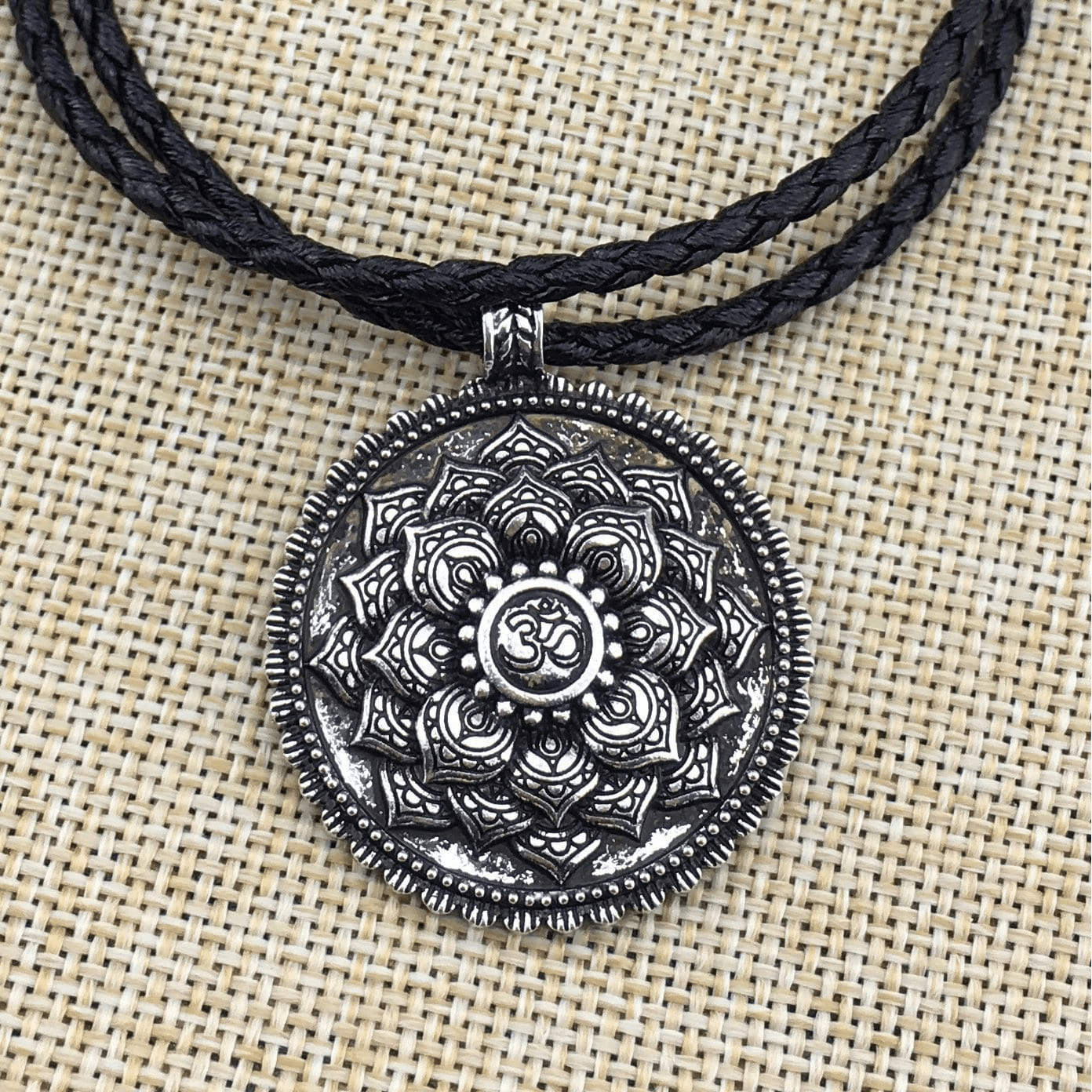 Antique Silver Om Lotus Mandala Pendant Necklace necklace WickedAF